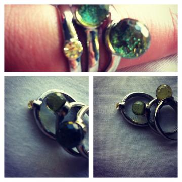 Pretty green stackable rings - medium size