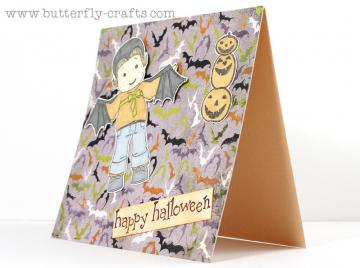 Batty Happy Halloween Card, Pumpkins and bats, purple, handmade