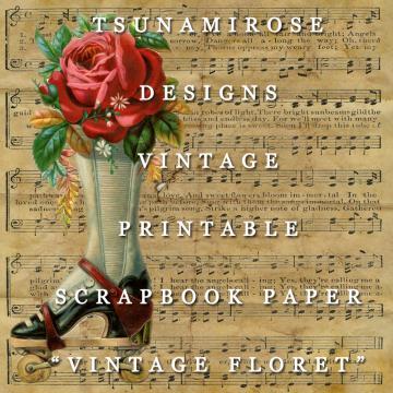"6X6 Vintage Digital Printable Scrapbook Paper- "" Vintage Floret"""