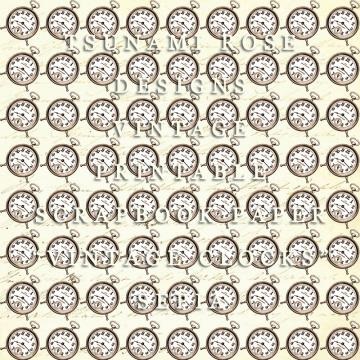 "6X6 Vintage Digital Printable Scrapbook Paper- ""Vintage Clocks"" Sepia"