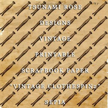 "6X6 Vintage Digital Printable Scrapbook Paper- ""Vintage Clothes Pin 2"" Sepia"