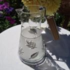 Vintage Glass Pitcher Carafe with Wood Handle 1950s