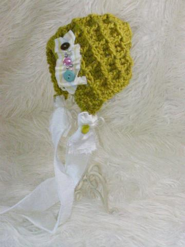 SALE Newborn Crochet Pea Green Bonnet with Buttons and Pearls