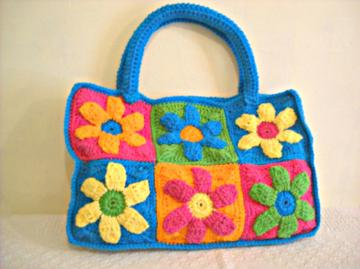 Crocheted Flower Power Tote Bag in Pink, Green, Orange, Yellow, and Blue (made to order)
