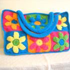 Crocheted Flower Power Beach Bag in Pink, Green, Orange, Yellow, and Blue (made to order)