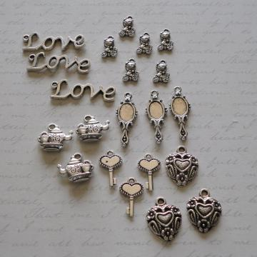 21pc Silvertone Charms - Mixed
