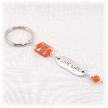 Orange Live Life Key Ring