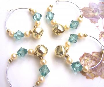 Golden Jingle Bells, Pearls & Green Beads Wineglass Charms - Set of 4