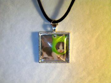 Kitty Cat in a Froggy Hat Glass Domed Pendant with Cord