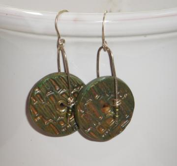 Khaki Green Polymer Clay  Dangle Earrings