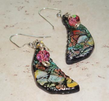 Black Crackle Polymer Clay Earrings