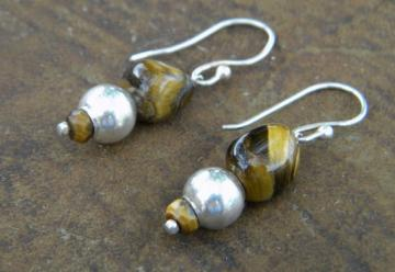 Tigress Earrings - Tigers Eye and Sterling Silver