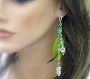 Going Green Earrings - Turquoise, Parrot Feathers and Sterling Silver