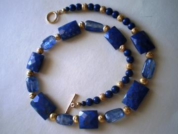 "17.5"" Necklace - Genuin Natural Lapis Lazuli,Finest dark blue kyanite with diamond cut vermeil"