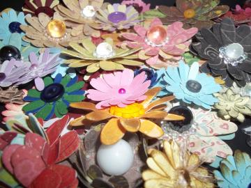 12 handmade paper flowers grab bag