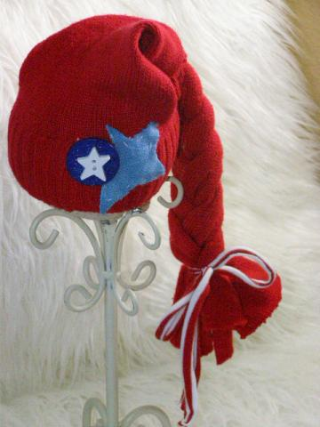 SALE Upcycled Newborn Red White and Blue Braided Elf