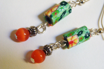 Orange and Green Dangle Earrings