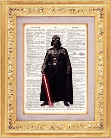 BOGO SALE... (Buy 1 Get 1 Free)...  Darth Vader The Force Upcycled Vintage Dictionary Book Page Upcycled Vintage Book Art Print 8x10
