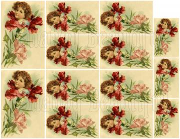 Shabby chic catalog digital Pretty girl in a flower  collage sheets for scrapbook and cards DC53