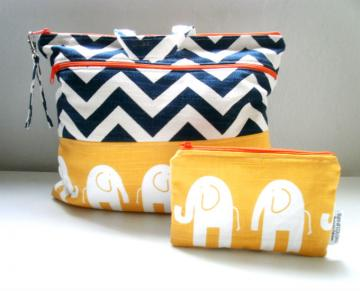Bag Set  Diaper Bag Elephants in Yellow/Chevron with a Matching Zippered Pouch Included