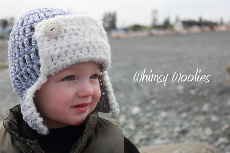 Child Crochet Aviator Hat Pattern : #