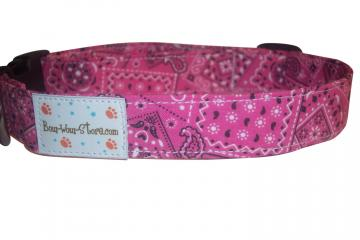 Hot Pink Bandana Western dog cat pet puppy collar xs sm med lg xl custom made all sizes