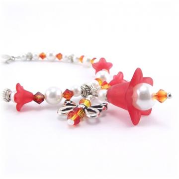 Red Flower and Butterfly Charm Bracelet