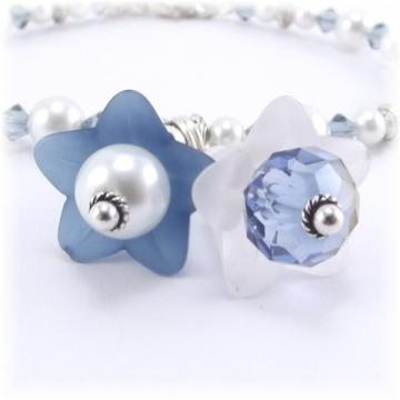 Blue and White Flower Charm Bracelet