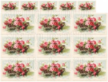 Shabby chic boat full of roses   digital collage sheets for scrapbook and cards  DC75