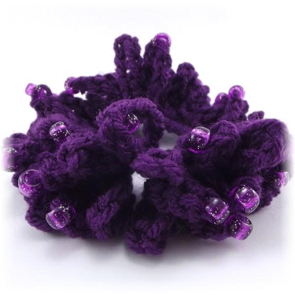 Crochet Hair Scrunchie : Purple Crocheted Beaded Hair Scrunchie