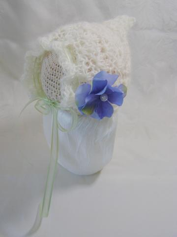 Newborn Crochet Ivory Pixie Bonnet and Flower