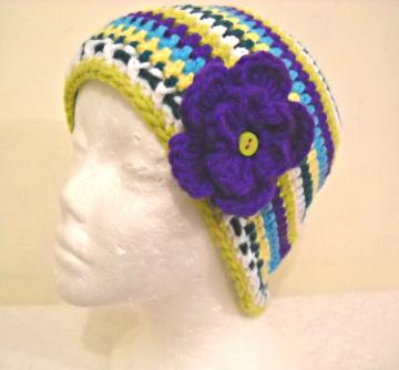 Crocheted Green, Blue, Yellow, &amp; White Striped Beanie  with Purple Flower