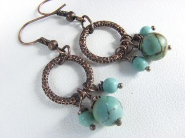 Turquoise Bead Earrings - Vintage Repurposed Chalk Beads on Copper Hoops - Dangle Style