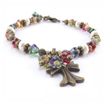 Cross and Flower Charm Bracelet