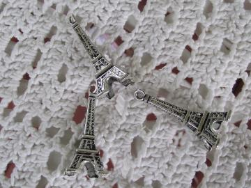 Silver Eiffel Tower Charms