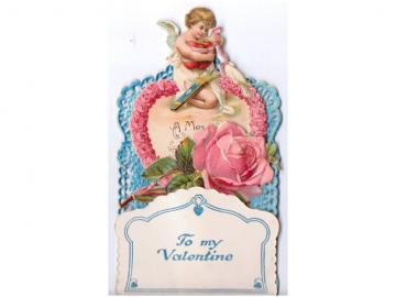 Victorian Valentine Card 1900s Antique Fold Out Pop Up Cherub Pink Roses