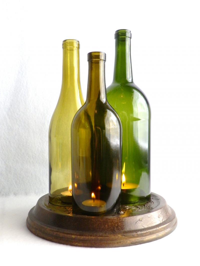 Triple Wine Bottle Candle Holder Hurricane Lamp Centerpiece