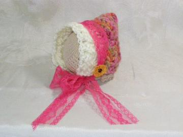 SALE Crochet Newborn Pink Lace Pixie Bonnet