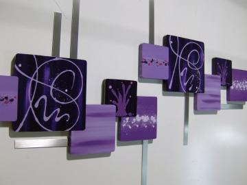Beautiful Contemporary Abstract Floral Square Wall Sculpture Purple LIlac Wood Art with Metal