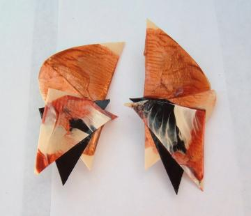 Mod Vintage Paper or thin Plastic Abstract clip Earrings