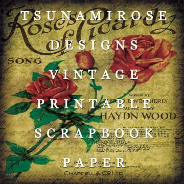"""6X6 Vintage Digital Printable Scrapbook Paper- """"Picardy Roses"""""""