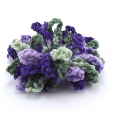 Purple and Green Crocheted Hair Scrunchie