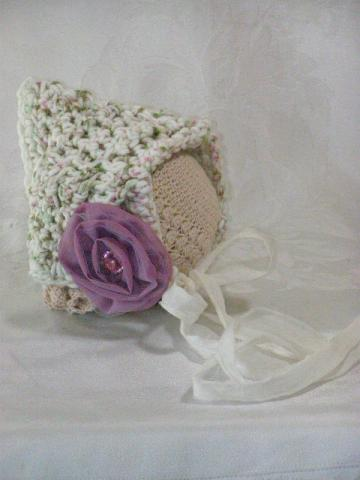 SALE ... Crochet Newborn Speckled Bonnet with Lilac Flower