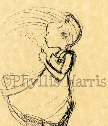Girl&#039;s Wall Art Print - Vintage Dandelion girl sketch - &quot;Every Breath is a Gift&quot;