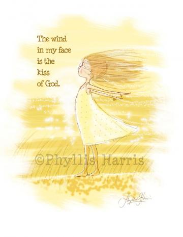 Children's Art Print for Girl's room decor The Kiss of God