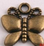 3 bronze charms butterfly