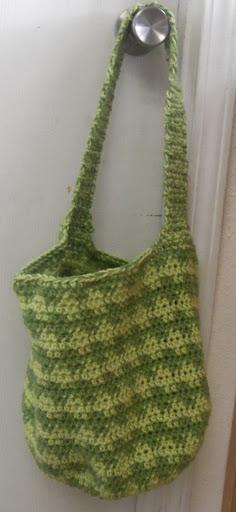 Two shades of green crochet beach bag