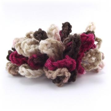 Crocheted Hair Scrunchie Brown Tan Wine