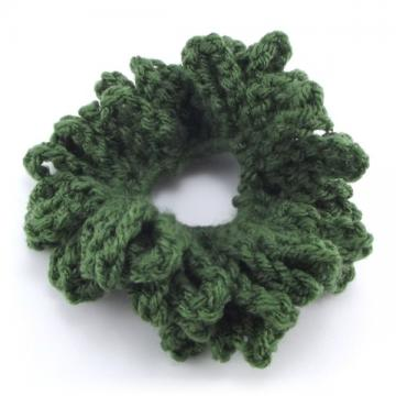 Forest Green Crocheted Hair Scrunchie
