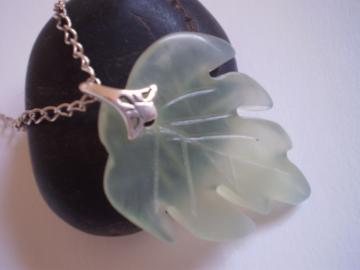 Leaf Pendant - Hand Carved From Natual Jade